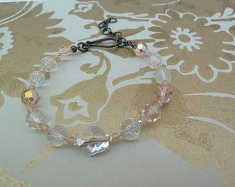 Jewellery Beaded Bracelet AB Crystal Beads Blush Bracelet Blush Pink Bracelet Pink Bridal Clear Crystals Dainty Bracelet Bridal Summer Gift