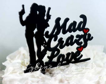 Mad Crazy Love - The Joker and Harley Quinn - Event Wedding Cake Topper