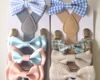 Bowtie Suspenders Baby blue bow tie Tan Linen Boys Bowties Toddler Necktie Men kids Rustic Wedding Ring Bearer Outfit Groomsmen gift Holiday