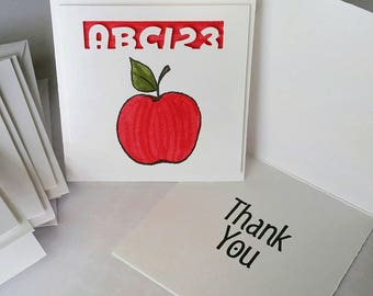 3x3 Elementary Apple Thank You Card Set of 5