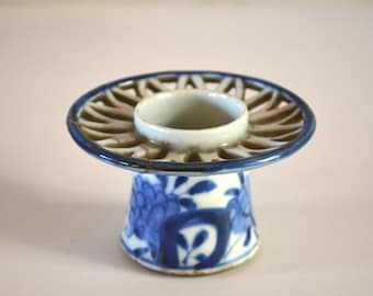 Ceramic sake cup stand or haidai, blue and white,  antique Japanese