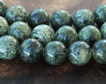 Russian Serpentine Beads, Green, 8mm Round - 15 inch Strand - eGR-RS001-8