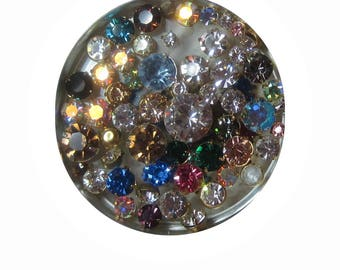 Round Swarovski Crystal, Rhinestone, 4 Prong, Gold Cup Chaton Setting, 19SS, 29SS, 48SS