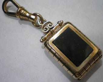 Vintage Antique 10k Rose Pink Gold Blood Stone Onyx Fob Locket with Clip