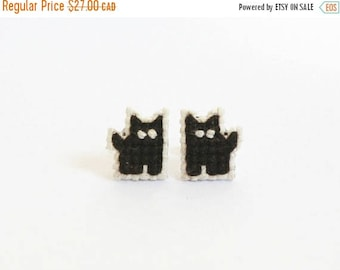 Black Cat earrings, cross stitch, Coffee the Black Cat, gifts for cat lovers, Halloween, gifts under 30, made to order