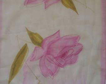 Pink Roses Sheer Silk Vintage Scarf 1950s