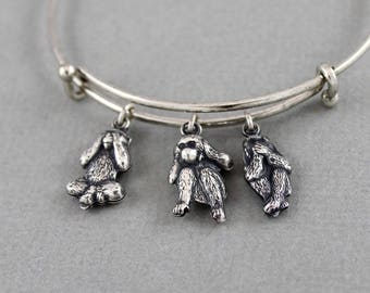 See no evil, hear no evil, speak no evil - Three Wise Monkeys antique silver plated expandable charm bangle bracelet