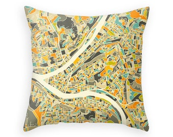 PITTSBURGH MAP, Throw pillow for your Home Decor (ivory version)