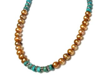 Brown Freshwater Pearl Turquoise Silver Necklace Southwest Southwestern Necklace Short Choker Beaded Jewelry Gift for Her Necklace for Women