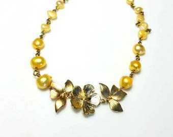 yellow freshwater pearl gold flower leaves necklace beaded chain jewelry unique leaf pendant necklace necklaces for women gifts for her