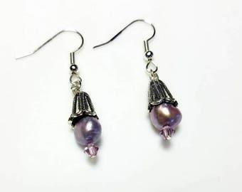 purple freshwater pearl purple crystal flower beadcap cone earrings hypoallergenic earrings nickel free earrings beaded dangle pearl jewelry