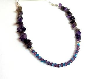 purple amethyst gemstone chips necklace purple turquoise glass beads necklace unique beaded stone jewelry gifts for her necklaces for women