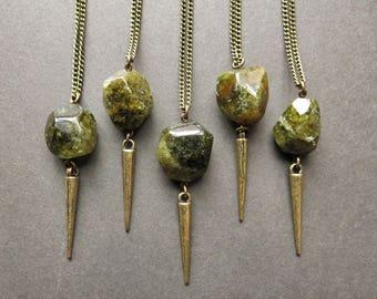 Green Garnet Necklace - January Birthstone Necklace - Boho Spike Necklace - Garnet Pendant - Long Stone Necklace - Long Boho Necklace