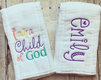 Personalized baby girl burp cloth set - child of God, baby gift
