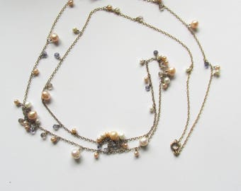 Pearl and small natural crystal stones gold plate necklace