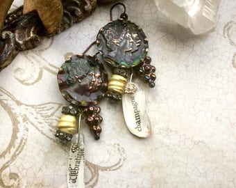 mixed metal narrative assemblage earrings with metal cameos rhinestones and verdigris patina, bohemian, asymmetrical jewelry, AnvilArtifacts