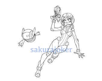 "Manga Style Space Girl ""Flora"" Printable Coloring Page - PDF Instant Download"