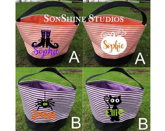 Personalized Trick or Treat Totes, Halloween, Polka Dots or Stripes, Monograms, Names, Designs, Plain,  Halloween Bags, Halloween Buckets