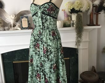 70s Teal India Cotton Floral Sundress