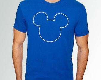 Mickey Mouse Dotted Line Ears/Head *Royal Blue* Cotton Crew Neck Short Sleeve Shirt * Disneyland/Disney World/Run Disney