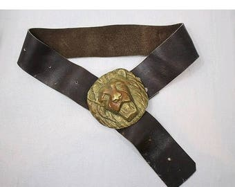 LION'S HEAD Buckle  belt , wide , brown leather