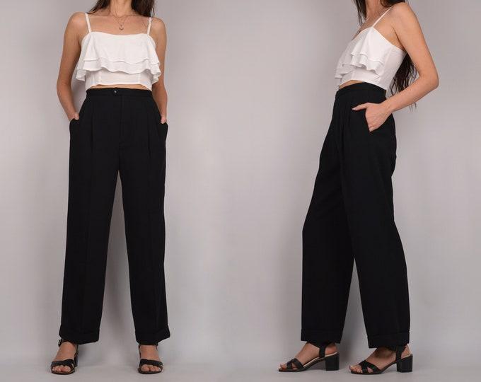 High Waist Black Trousers / minimalist