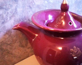 Burgundy Colored Hall six cup Teapot, made in the USA, Tea Party, House Warming Gift
