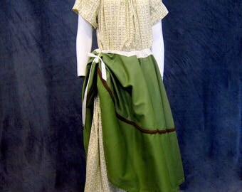 Green Peasant Skirt Circle Skirt Pirate Garb Wench Costume Drawstring Skirt Renaissance Skirt Ren Faire Garb Pirate costume Plus Size Skirt