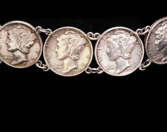 Vintage Sterling 1940- 45 Mercury Winged Dime Coin Bracelet with DANGLE