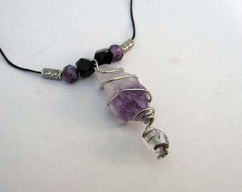 Wire Wrapped Amethyst Pendant With Glass Bead Accent