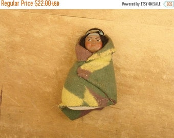 ON SALE vintage 30's skookum doll papoose Native American Indian doll with navajo blanket