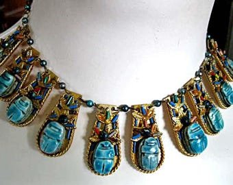 Egyptian Scarab Links Necklace, Turquoise Blue Faience Beetles, Colorful Bead Accents, Elaborate Golden Brass Drops Choker
