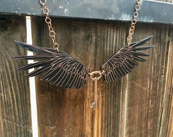 Flying Key, Winged Key, Raven Wings, Harry Potter, Statement Necklace - Goth, Fantasy, Steampunk, Sci Fi, Copper