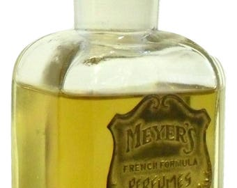 RARE Antique 1910s Meyer's French Formula Perfumes Edwardian Era Perfume Bottle Metal Label