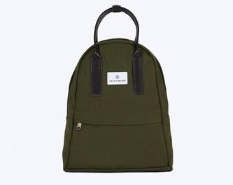 NO. 13 Backpack, Green Canvas Backpack, Green Backpack, Women Backpack, Kid Backpack, 12 Inch MacBook Backpack, Laptop Backpack