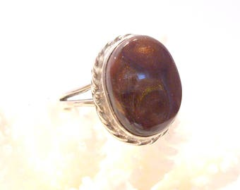 Brown Fire Opal Sterling Silver Ring Size 8 1/4 Opal is the Birthstone for October