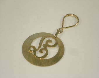 Vintage Key Chain - Gold Tone B Letter Initial Key Ring -  Retro Accessories