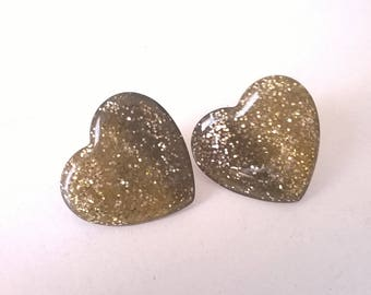 Vintage Love Heart Earrings  - Black and Gold Glitter - Pierced Retro Fashion Jewelry - 1980s Prom