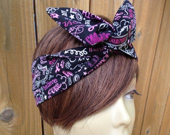 Wire Breast Cancer Awareness 4  Wired Dolly Bow Rockabilly Hair Scarf - Bandana Headband