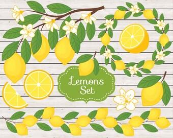 70% OFF SALE Lemon Clipart - Vector Lemon Clipart, Rustic Clipart, Lemons Clipart, Citrus Clipart, Lemon Branch Clipart, Lemon Clip Art