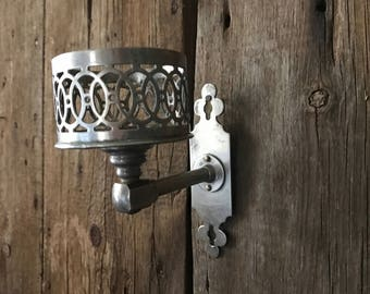 Antique French Candle Sconce, Wall Mount, Silver Metal, French Farmhouse