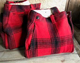 1950s Mackinaw Plaid Pants, Red Black Wool Hunting Trousers, Lumberjack, Original Label, 2 Available