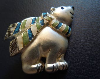 Vintage Christmas Brooch or Pin.  Polar Bear in Silver Tone with Green, White and Blue Scarf.  Excellent Condition.