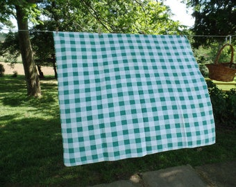 Vintage Green and White Checked Tablecloth, 50's Woven Picnic Tablecloth, Country Living Casual Table Cloth, Linen Cotton Tablecloth