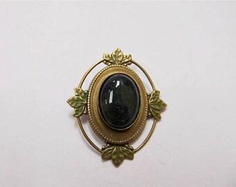 On Sale Vintage Inspired Green Glass Enameled Pin Item K # 3133