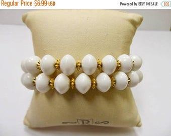 ON SALE Vintage White Beaded Double Strand Bracelet Item K # 2735