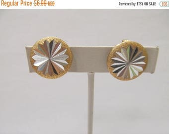 ON SALE Vintage HONG Kong Alum Two Tone Earrings Item K # 379