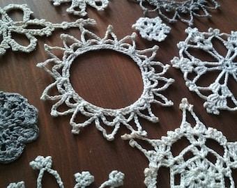 Christmas snowflakes, holiday decor, set of 15, crochet ornaments, embellishments, Snow Crystals, holiday ornaments, window, wall