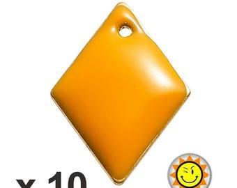 x 10 sequins 16x11mm orange enameled charms