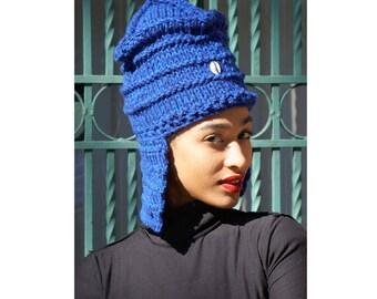 Flap Hat. Cowry Shell Hat. Loc Hat. Dreadlock Hat. Knit Hat.  Ta Ankh.
